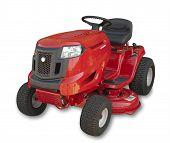 stock photo of grass-cutter  - Red sitting lawn tractor on white - JPG