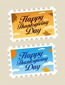 Happy Thanksgiving Day postage stamps set.
