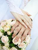 image of wedding couple  - Just married couple hands - JPG
