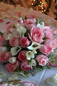 bridal boquet pink roses