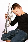 Young boy with his trumpet