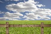 Bright Sky With Grass and Wood Fence