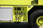 Yellow Humvee Firetruck on Aerospace Plant