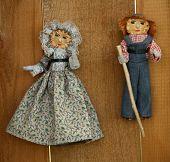Muñecas Vintage Cornhusk de pueblos pioneros