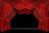 Horozontal old fashioned elegant theater stage with velvet curtains leading upstage in an arch