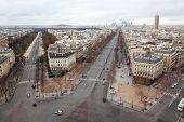 view from Arc de Triomphe on Bois de Boulogne and La Defense in Paris, France