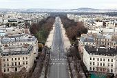 view from Arc de Triomphe on Bois de Boulogne in Paris, France