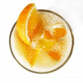 Orange Healthy Cocktail with Mint and Litchi Served with Orange Slice. Isolated on White Background