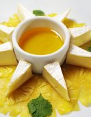 Fromage (Soft Cheese) with Honey Sauce and Fresh Pineapple