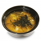 Japanese Cuisine - Miso Soup made from Crab Meat and Trickled Pastries