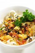Japanese Cuisine - Warm Salad made from Vegetables and Scallop and Bacon