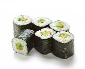 Kappamaki - Cucumber Sushi Roll. Isolated over White