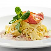 stock photo of carbonara  - Tagliatelle with Carbonara Sauce and Bacon - JPG
