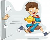 Illustration of a Kid Stealing Clothes