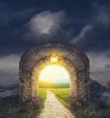 Mysterious Gate Entrance.  New Life Or Beginning Concept poster