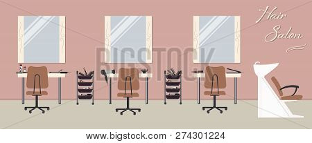poster of Interior Of A Hair Salon In A Pink Color. Beauty Salon. There Are Tables, Chairs, A Bath For Washing
