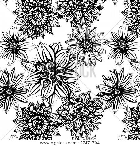 Seamless pattern with black and white flowers poster id27471704 seamless pattern with black and white flowers poster mightylinksfo