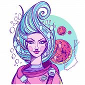 Girl Symbolizes The Zodiac Sign Scorpio. Pastel Goth Portrait. poster