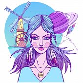 Girl Symbolizes The Zodiac Sign Aquarius. Pastel Goth Portrait. poster