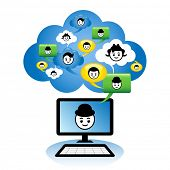 Cloud computing concept. Social networking via the