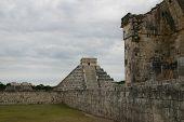 Mayan temple and wall at Chichen Itza, Yucatan, Mexico
