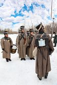 MOSCOW - FEB 27: Soldiers perform at historical reconstruction, Feb 27, 2011 in Moscow, Russia. Municipality of Lefortovo and