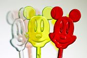 Three colorful plastic mice
