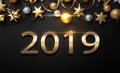 2019 Golden New Year Sign With Golden Glitter On Black Background. Vector New Year Illustration. Hap poster