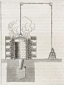 Mercury vaporization and silver fusion stove in a Mexican silver mine. By unidentified author, published on Magasin Pittoresque, Paris, 1844