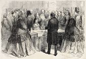 Napoleon III and Empress Eugenie visiting Saint-Gobain glass factory. Created by Godefroy-Durand, published on L'Illustration, Journal Universel, Paris, 1858