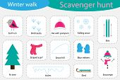 Scavenger Hunt, Winter Walk, Different Colorful Pictures For Children, Fun Education Search Game For poster