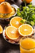 Fresh Oranges Juicer Juice Tropical Fruits And Herbs On Concrete Board poster