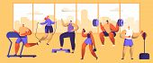 Gym Workout Character Set. Sport Cardio Fitness Man And Woman Figure Collection. Healthy Aerobic Wei poster