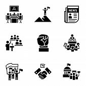 Political Debate Icon Set. Simple Set Of 9 Political Debate Icons For Web Design Isolated On White B poster