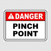 Plate: danger. Pinch Point. Sign: danger. Pinch Point On A Gray Background poster