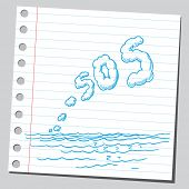 SOS sign over the sea