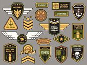 Army Badges. Military Patch, Air Force Captain Sign And Paratrooper Insignia Badge Vector Patches Se poster