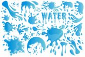 Blue Water Drop Or Splash Set Decor Element Include Of Droplet, Splashing, Raindrop And Tear. Vector poster