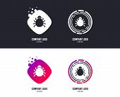 Logotype Concept. Bug Sign Icon. Virus Symbol. Software Bug Error. Disinfection. Logo Design. Colorf poster