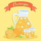 Pitcher Of Orange Juice, Glass Of Orange Juice, And Orange Fruit In Orange Background With Red Banne poster