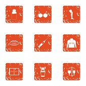 Creature Icons Set. Grunge Set Of 9 Creature Icons For Web Isolated On White Background poster
