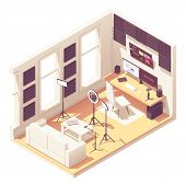 Video Blogger Or Vlogger Home Studio Workspace. Vector Isometric Room Cross-section With Acoustic Pa poster