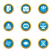 Scientific Man Icons Set. Flat Set Of 9 Scientific Man Icons For Web Isolated On White Background poster