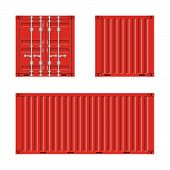 Red Cargo Container For Shipping In Flat Style. Front, Back And Side View. Transportation Container  poster