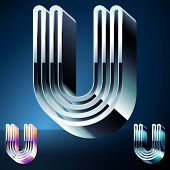 Three-dimensional ultra-modern alphabet from chrome or metal letters. Character u