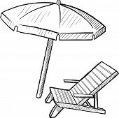 Beach chair and umbrella sketch