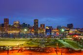 View on Baltimore skyline and Inner Harbor from Federal Hill at dusk, Maryland poster