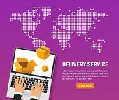 Online Delivery Service Of Good Vector Illustration. Web Application For Transportation Of Goods And poster