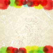 Постер, плакат: Акварель падает на cratched грязные изгиб Старый текстуру бумаги