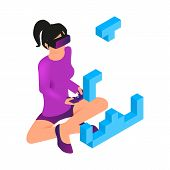 Isometric Image Gaming In Virtual Reality In 3d. Vector Illustration Girl Play Video Game Using Virt poster